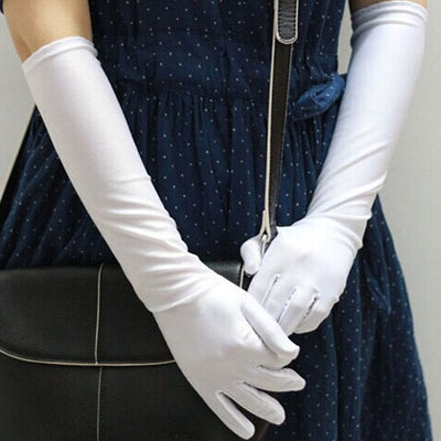 Charming Women Flapper Gloves Opera/Elbow/Wrist Satin Finger Long Gloves Elbow Sun Protection Gloves Opera Party Prom Gloves