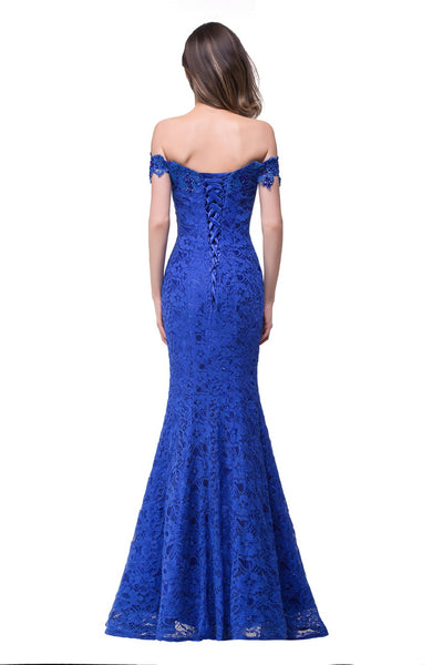 Cheap Price Elegant Crystal Beaded Red Royal Blue Lace Mermaid Long Evening Dresses 2017 Prom Party Dress Robe De Soiree Longue