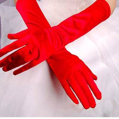 Chic Women Gloves Stretch Halloween Satin Gloves Evening Party Prom Long Gloves