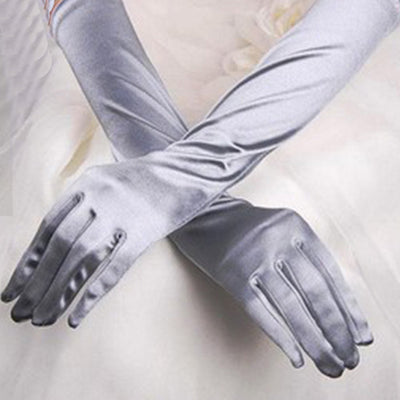 Chic Women Prom Gloves Stretch Halloween Satin Gloves Evening Party Long Gloves