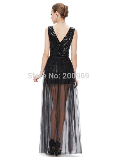 [Clearance Sale] Prom Dresses  Ever Pretty HE08492BK Summer Styles Vestidos Prom  Sexy Two-piece V-neck Sequined Prom  Dress