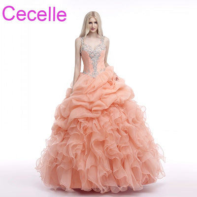 Coral Ball Gown Prom Dresses 2018 Sweetheart With Straps Beaded Lace Organza Ruffles Teens Formal Prom Party Gown Princess Sale