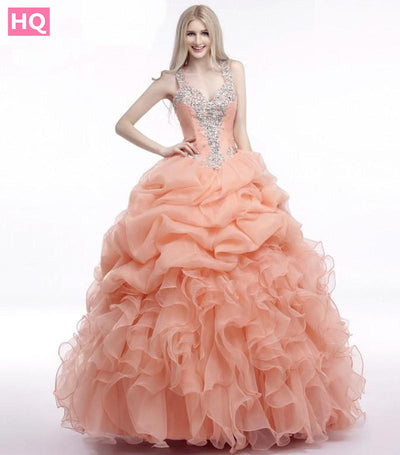 Coral Ball Gown Prom Dress