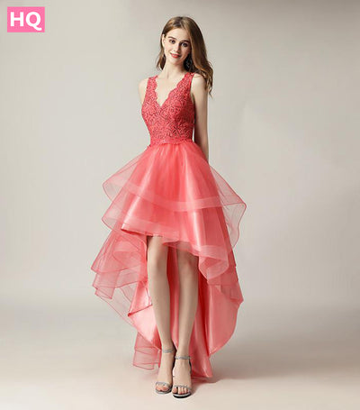 Cute Short Coral V Neck Sexy Backless Long Tulle Party Gown