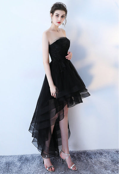 Elegant Black Prom Dresses 2018 New Sexy Strapless Lace-Up Beach Built-In Bra Formal Women Evening Gowns Custom Made Prom Dress