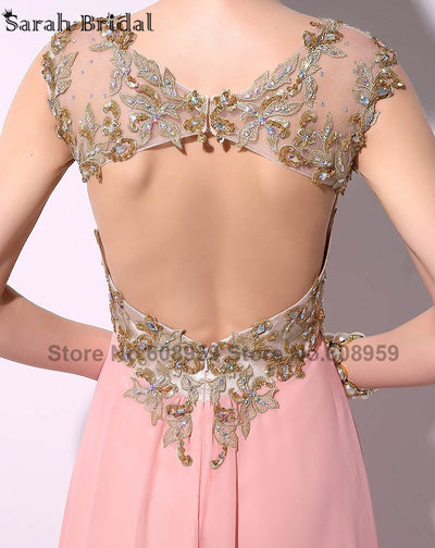 Elegant Pink Sexy Appliques Crystal Backless Women Prom Dresses 2017 Fashion A-line Floor Length Party Gowns Robe De Soire TZ014