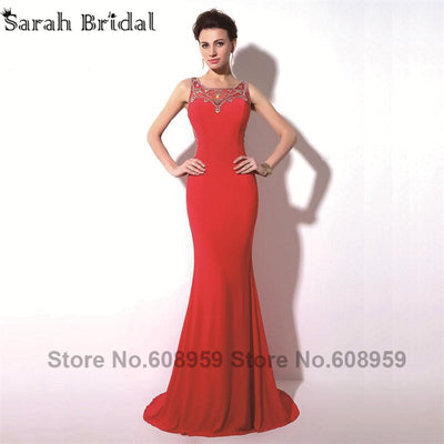 Elegant Red Sexy Sheer Crystal Mermaid Women Prom Dresses 2017 Fashion A-line Train Evening Party Gowns Real Picture TZ017