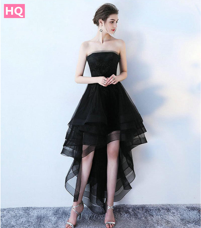 Elegant Black Prom Dresses 2018 New Sexy Strapless Lace-Up Beach Built-In  Bra 047021dea