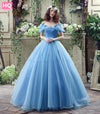Elegant Blue Princess Ball Gown Bow Beaded Short Puffy Sleeve Prom Dress