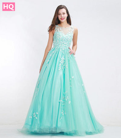 Elegant Tulle Prom Dresses Long 2018 New Style O-neck Appliques Illusion