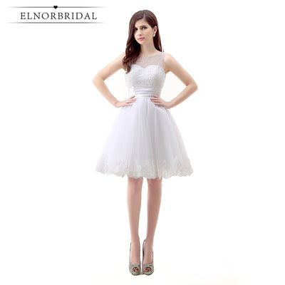 Elnorbridal Short Prom Dresses 2018 Real Photo Vestido De Festa Curto Beading Lace Mini Homecoming Cocktail Dress