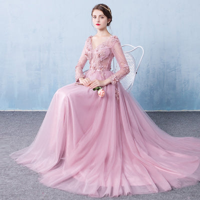 Evening Dress Long Sleeve 2018 A line Flowers V Neck Pink Lace Flowers Tulle Prom Dresses Lace Up Robe De Soiree Longue Dentelle 1