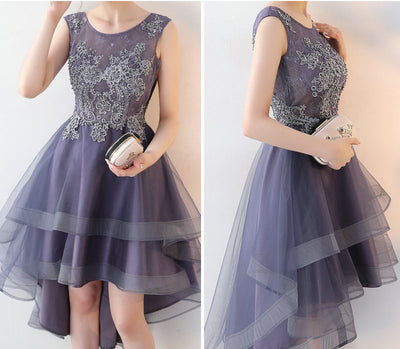 Fashion Grey Violet Prom Dresses 2018 New Sexy Prom Dress Short Tulle Appliques Beading Beach Built-In Bra Prom Gown Custom Made 1