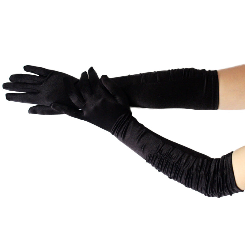 Fashion Sexy Women's Over Elbow satin Gloves Black White Long Satin Stretch Gloves for Women Evening Party Prom Costume
