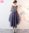 Fashion Grey Violet Prom Dresses Short Tulle Appliques Beading Beach Built-In Bra