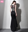 Fashion Prom Dresses Mermaid Women Dresses Black Appliques