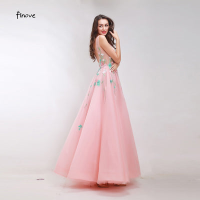 Finove Floral Appliques Beading Prom Dresses 2018 New Styles Gentle Dusty Pink Tulle Dresses A-Line Sexy Backless Long Dresses