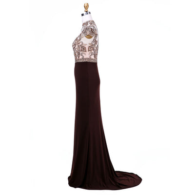 Finove Mother of The Bride Dresses New Arrival with High-Neck Crystal Beading Cap Sleeve Plus Size Prom Dresses Vestidos