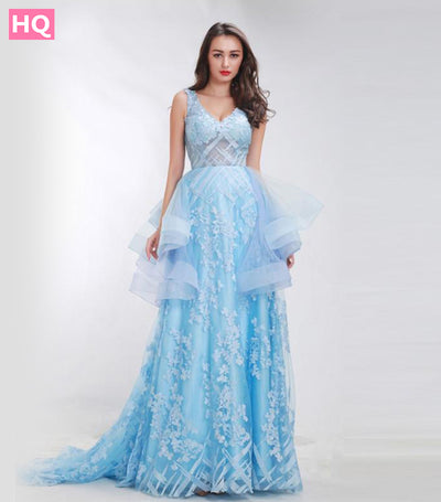 Finove Baby-Blue Floral Print Prom Dresses 2018 New Styles Sweep Train Romantic Sexy Backless Dresses