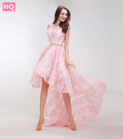 Finove Floral Pattern Prom Dresses New Styles 2018 Elegant A-Line Sweep Train Chic