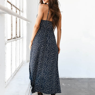 Floral Print Chiffon Long Dress 2018 Sexy V Neck Backless Boho Beach Dress Vestidos Women Split Summer Sundress Maxi Dress