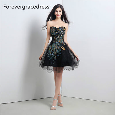 Forevergracedress Real Picture Prom Dress Peacock A Line Sweetheart Backless Cocktail Party Gown Plus Size