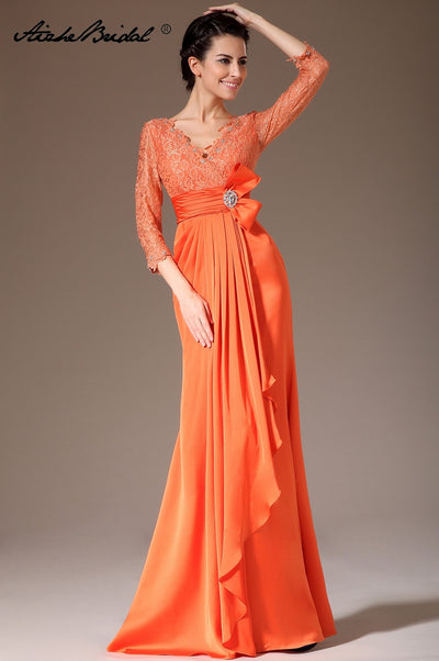 Formal Women's Dresses Mermaid 3/4 Sleeve Orange Chiffon Lace Mother of the Bride Gown Vestidos Madre De La Novia Mother Dress