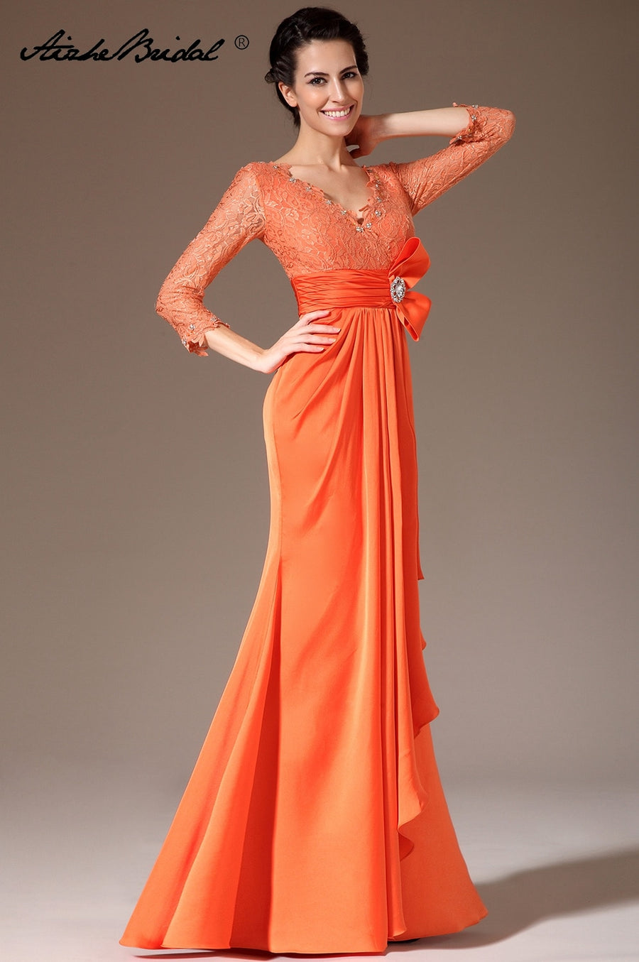 Formal Women's Dresses Mermaid 3/4 Sleeve Orange Chiffon Lace Mother of the Bride Gown Vestidos Madre De La Novia Mother Dress 1