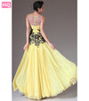 Yellow Chiffon Sheer Top A-Line Illusion Sweetheart Neck Appliques