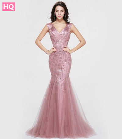 Gorgeous Mermaid Hot Tulle Beading Crystal Formal Long Evening Dresses