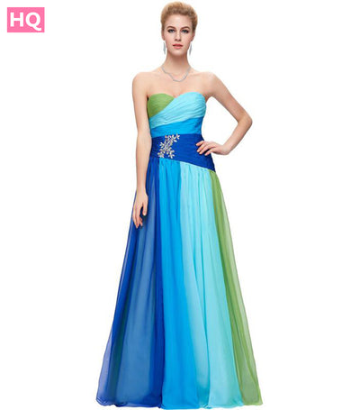 Colorful Blue Green/Red Ombre Beaded Chiffon Prom Dresses
