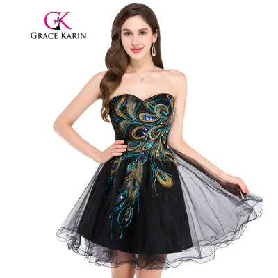 Grace Karin Short Prom Dress 2018 Sexy Black White Peacock Prom Gowns Tulle Robe De Cocktail Special Occasion Dress Ball Gown