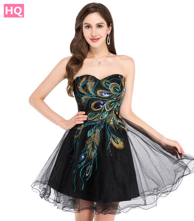 Sexy Black White Peacock Prom Gowns Tulle Robe De Cocktail Special Occasion Dress Ball Gown