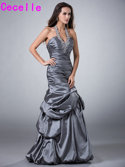 Grey Taffeta Vintage Mermaid Prom Dresse Halter Pleats Floor Length Teens Formal Prom Party Dresses Custom Made New Arrival 1 2