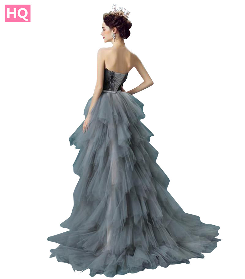 Grey Tulle With Feathers Ombre