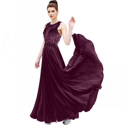 Sexy O Neck A Line Ombre Chiffon Lace Beaded Maroon Lavender Long Prom Dresses Backless Court Train