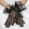 HQ 1Pair New Sexy Women Evening Party Prom Costume Lace Gloves Solid Color Fashion Hollow out Ladies Gloves DYY1687