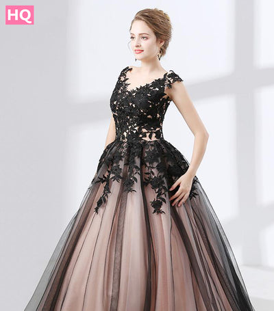 Lace Ball Gown Prom Dresses vestido Champagne Party Evening Gowns Tulle Lace Up
