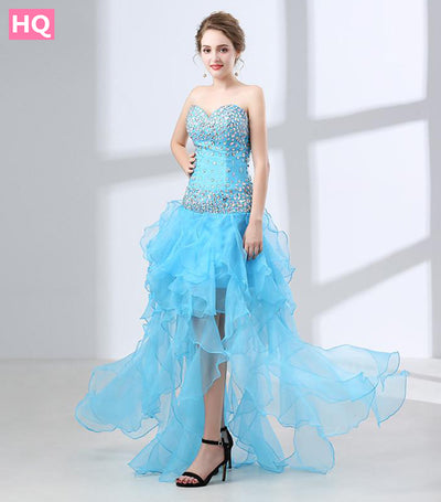 BRIDAL Sky Blue Crystal Beaded Prom Dress Backless Evening Party