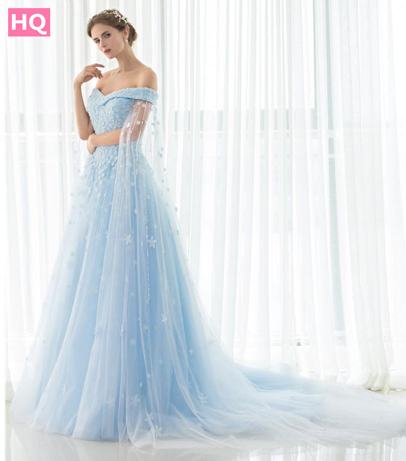 Off Shoulder Blue long prom dresses With Shawl Lace Up Evening Gown ...