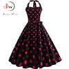 Halter Long Summer Dress Women Polka Dot Print Backless Bow Elegant Vintage Rockabilly Prom Party Dresses Plus Size Vestidos