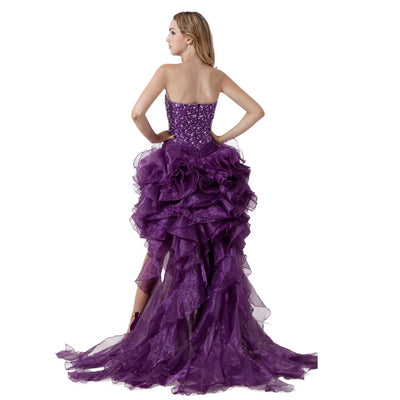Hi Low Purple Prom Dresses Prom Graduation Dresses Beaded Ruffles Prom Gowns 2017 Sweetheart Luxury Evening Dress Plus Size
