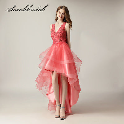 High Low Lace Prom Dresses Cheap Short Coral V Neck Sexy Backless Long Tulle Party Gowns In Stock Girls Formal Wear CC230
