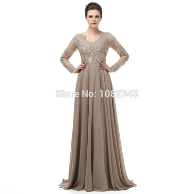 High Quality Chiffon Appliques V Neck A Line Long Prom Dresses 2018 High Slit Floor Length Long Sleeves Prom Dress DB232 1