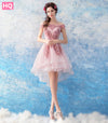 High Low A-line Pink Lace Beading Tulle Elegant Prom Dress