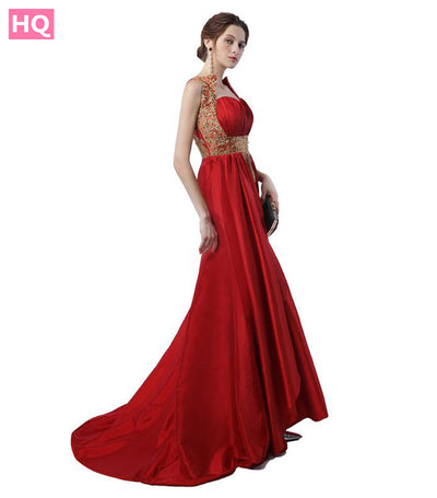 High Quality Dubai Prom Dresses Sweetheart with Short Train Red Satin Gold Embroidery Works Arabic Formal