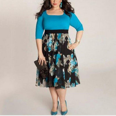 Hot Sale 2017 Autumn New Fashion Plus Size Half Sleeve Women's Long Evening Party Office Prom Gown Floral Formal Dress