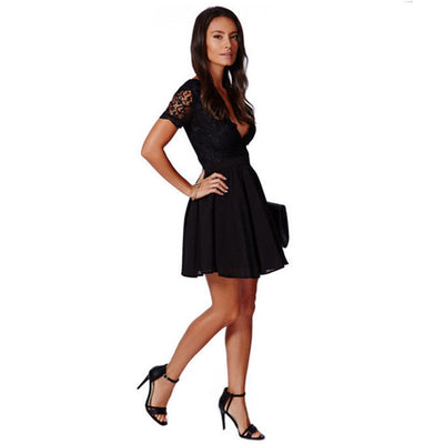Hot Sale 2018 Summer Women's Black Sexy Deep V Lace Dress Fashion Chiffon Mini prom Party Dresses