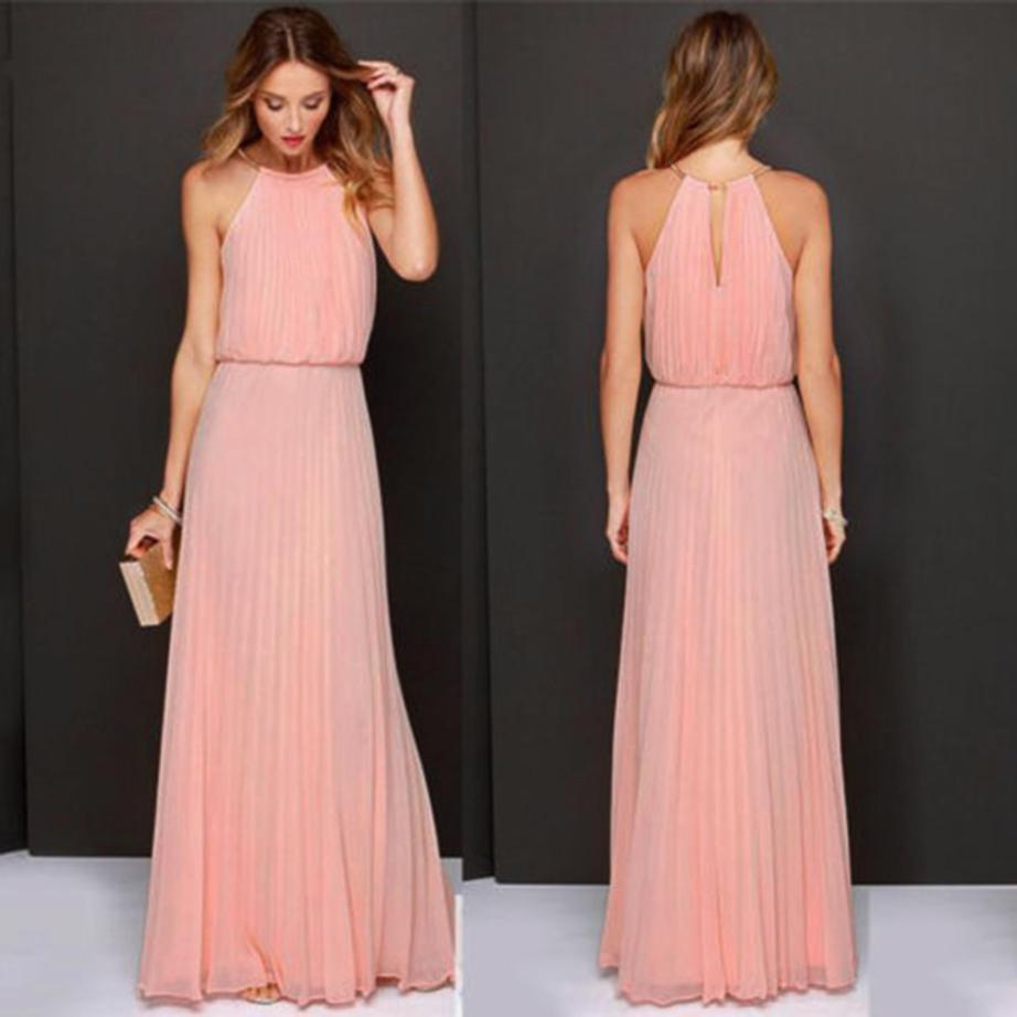 2de94e5b11 KLV Summer Dress Women Casual Elegant Evening Party Dresses Formal Chiffon  Sleeveless Prom Maxi Dress Beach