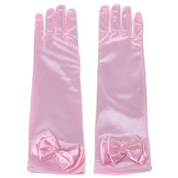 Kids Long Gloves Bow Knot Girls Prom Finger Satin Elbow Costume Princess Sleeves W715